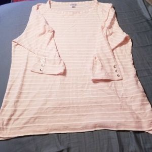 Womens Croft & Barrow Pink & White Striped Shirt
